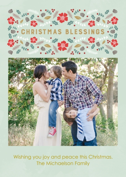 Christmas Photo Cards 5x7 Cards, Premium Cardstock 120lb with Rounded Corners, Card & Stationery -Christmas Blessings