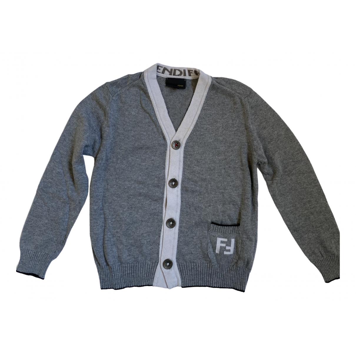 Fendi - Pull   pour enfant en coton - gris