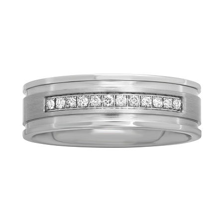 Mens 1/7 CT. T.W. Diamond Stainless Steel 7mm Wedding Band, 10 , White