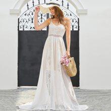 V-back Lace Chiffon Cami Formal Dress
