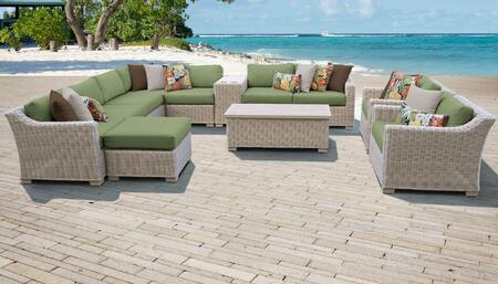 Coast Collection COAST-12b-CILANTRO 12-Piece Patio Set 12b with 1 Corner Chair   4 Armless Chair   1 Ottoman   1 Cup Table   1 Storage Coffee Table