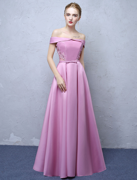 Milanoo Prom Dresses Fuchsia Pink Long Satin Off The Shoulder Formal Dress Lace Applique Pleated Floor Length Occasion Party Dresses