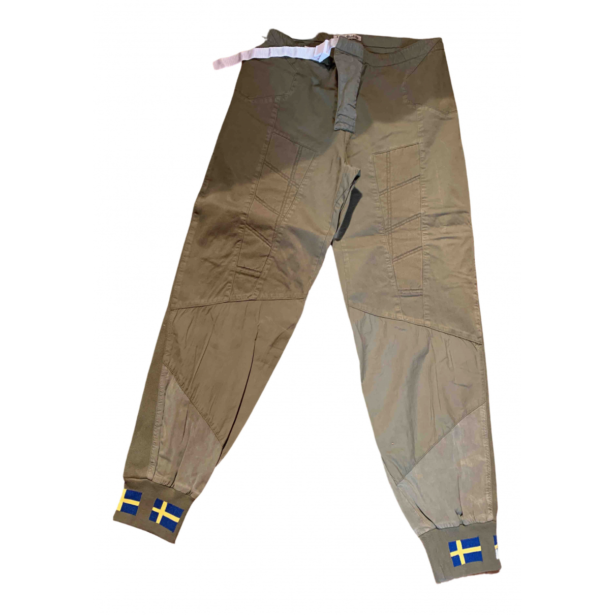 Acne Studios \N Green Cotton Trousers for Women 36 FR
