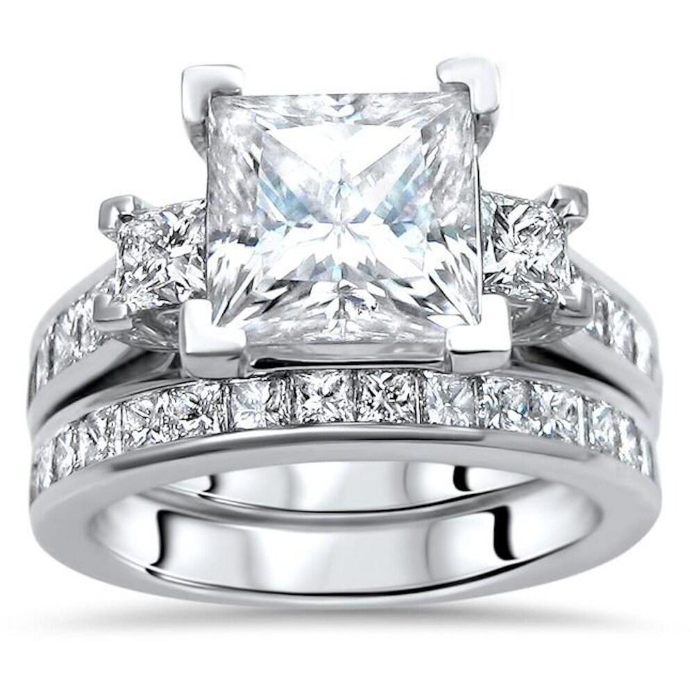 14k White Gold 2.50ct Princess Cut Moissanite and 1 & 3/4ct 3 Stone Diamond Engagement Ring Bridal Set (7.5)