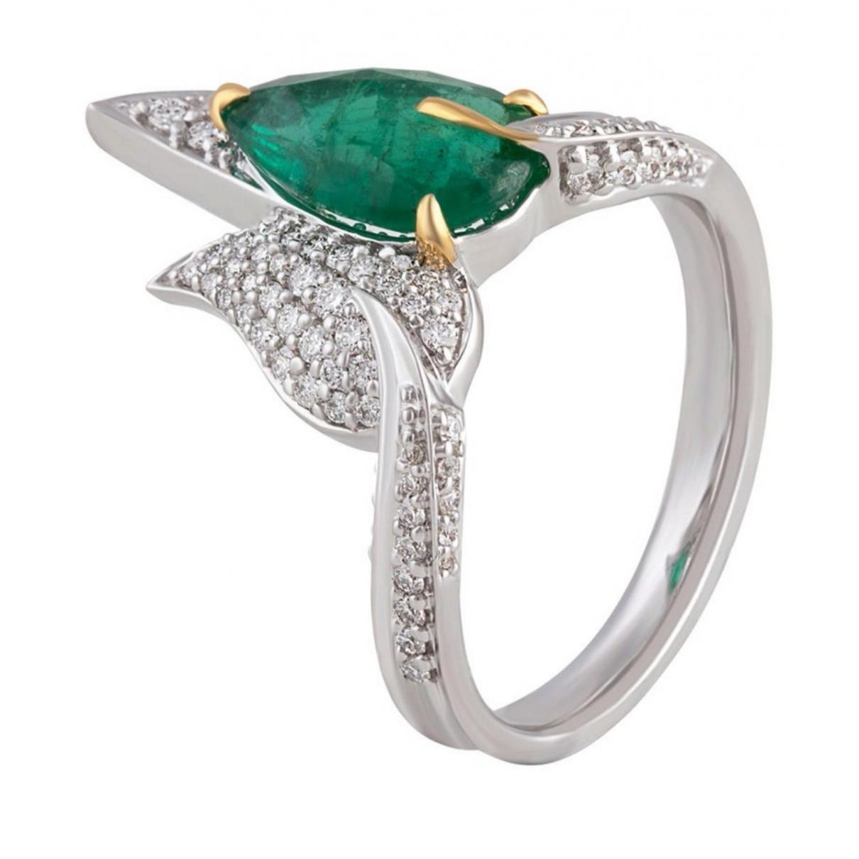 - Bague Emeraude pour femme en or blanc - vert