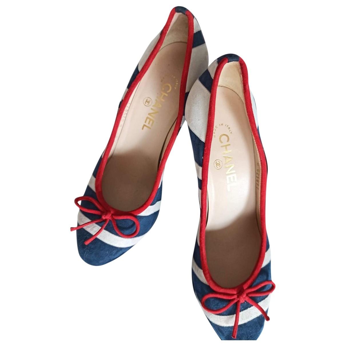 Chanel \N Navy Velvet Heels for Women 38.5 EU