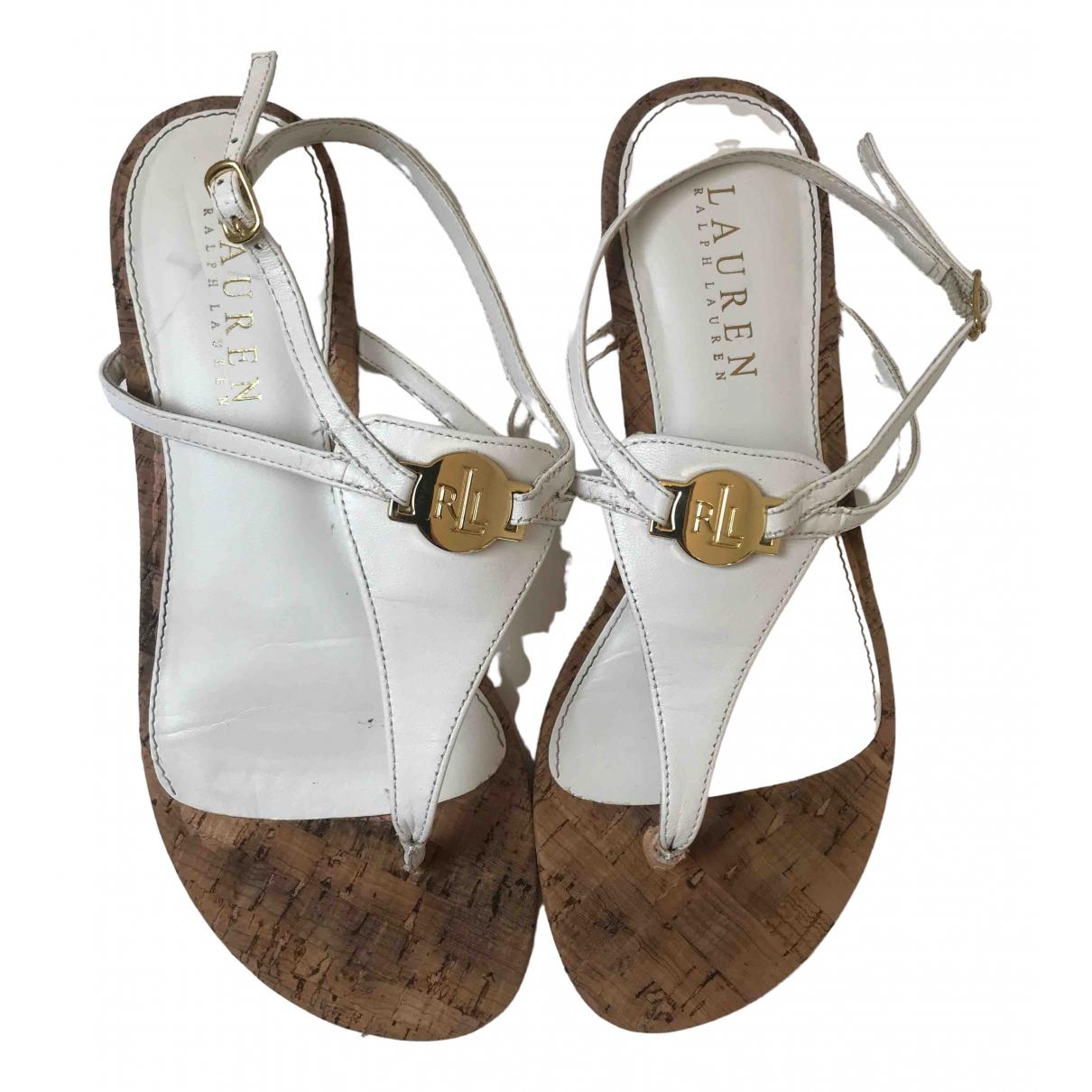 Lauren Ralph Lauren N White Leather Sandals for Women 5.5 UK