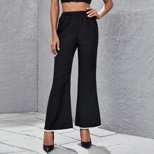 Hose mit Kontrast Saum und ausgestelltem Beinschnitt
