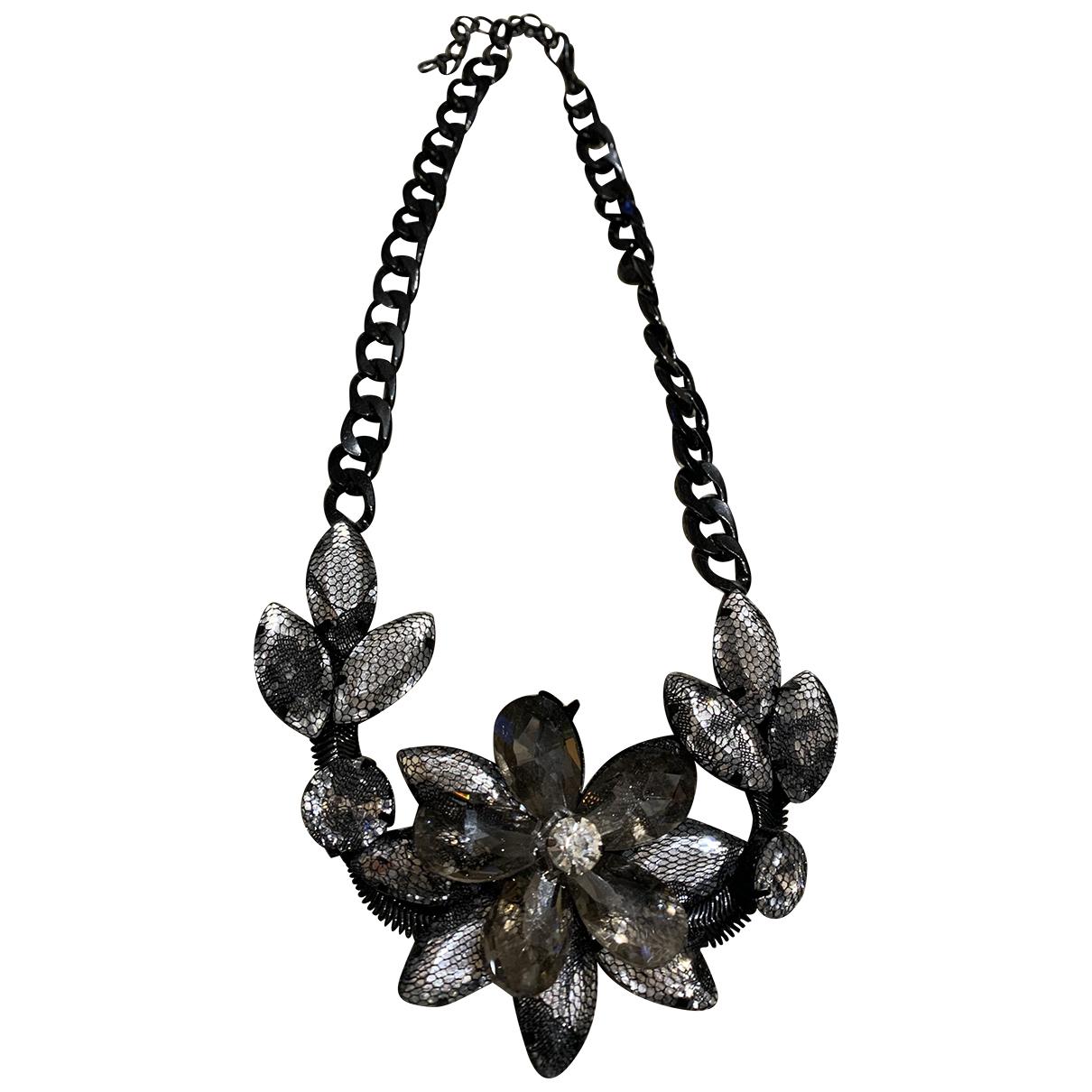 - Collier Motifs Floraux pour femme en metal - noir