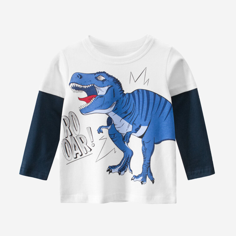 Boy's Dinosaur Print Patchwork Long Sleeves Casual T-shirt For 2-10Y