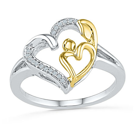 Womens Diamond Accent Genuine White Diamond 10K Gold Over Silver Heart Cocktail Ring, 7 1/2 , No Color Family