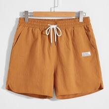 Men Patched Detail Drawstring Waist Shorts