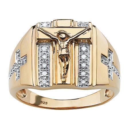 Eagle Mens 1/10 CT. T.W. Genuine White Diamond 18K Gold Over Silver Fashion Ring, 13 , No Color Family