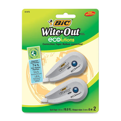 BiC Wite-Out@ Ecolutions mini ruban correcteur, blanc, paquet de 2 (WOETP21) 128538
