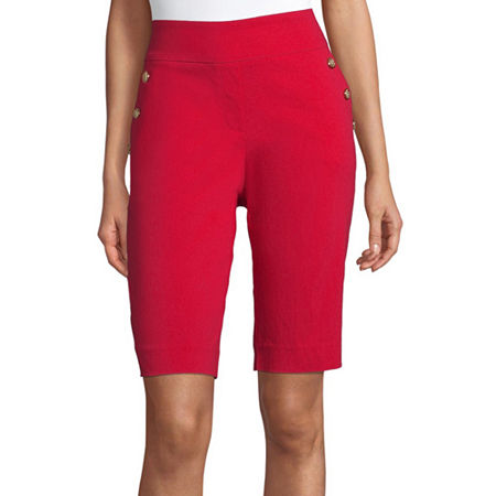 Liz Claiborne Womens Mid Rise Stretch Pull-On Short, Large , Red