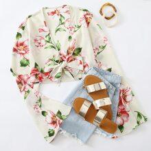 Plus Flower Print Tie Front Top