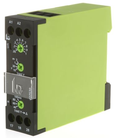 Tele SPNO Timer Relay - 0.5 → 10 s, 1.5 → 30 s, 3 → 60 s, 9 → 180 s, 2 Contacts, Interval,