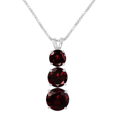 Genuine Garnet Sterling Silver Pendant Necklace, One Size , No Color Family