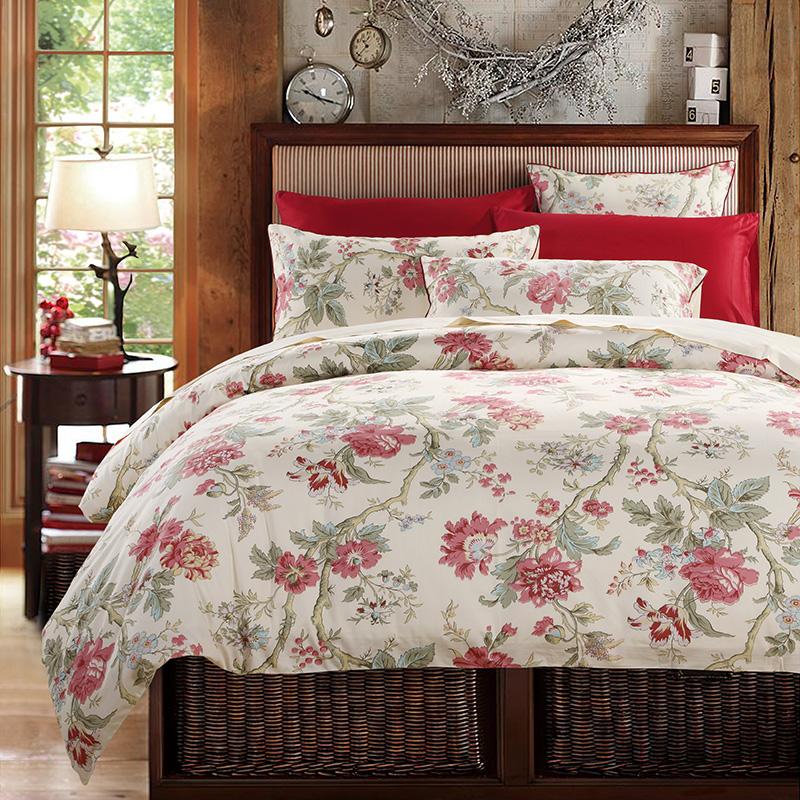 Floral Duvet Cover Set Reactive Printing 2 Pillowcases Three-Piece Set Polyester Bedding Sets 2 Pillowcases