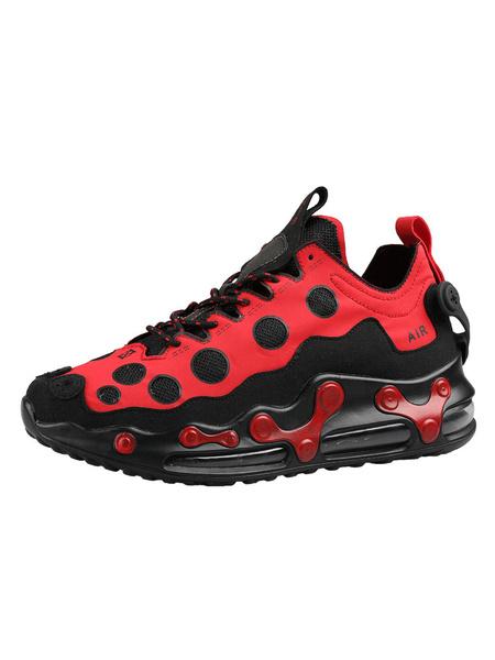 Milanoo Men\'s Sneakers Comfy Mesh Round Toe Dots Blue Low Tops Men\'s Shoes