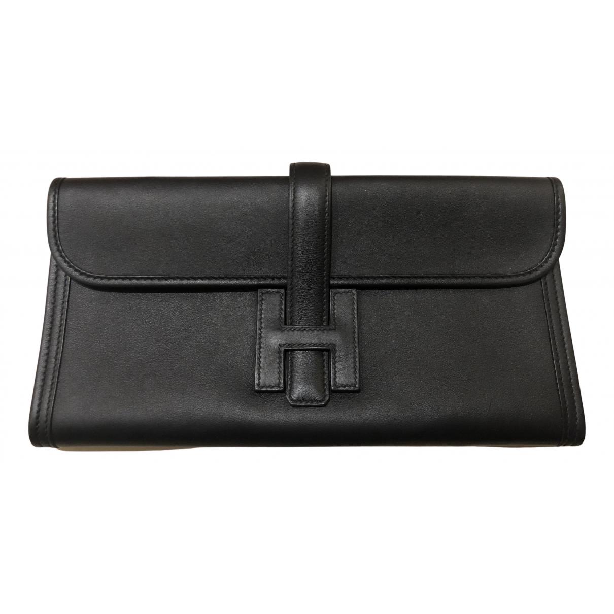 Hermes Jige Clutch in  Schwarz Leder