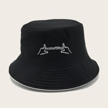 Men Letter Embroidered Bucket Hat