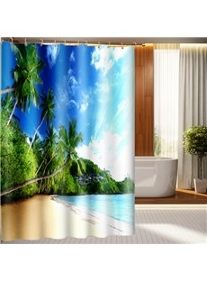 3D Beach and Coconut Tree Printed Polyester Blue Bathroom Shower Curtain