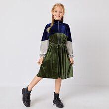 Girls Zipper Placket Front Knot Waist Raglan Sleeve Colorblock Velvet Dress
