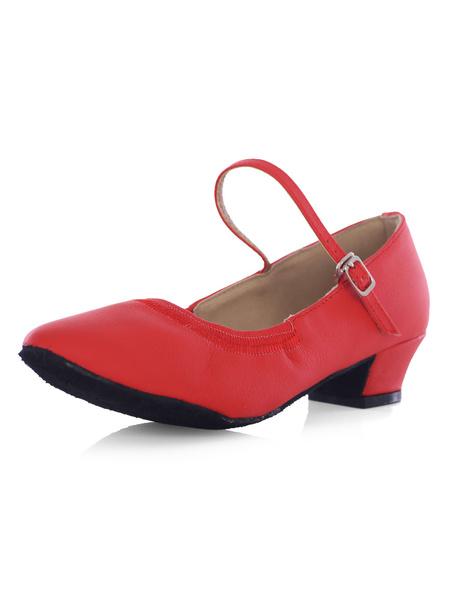 Milanoo Zapatos de bailes latinos de puntera redonda de tacon gordo de PU para baile