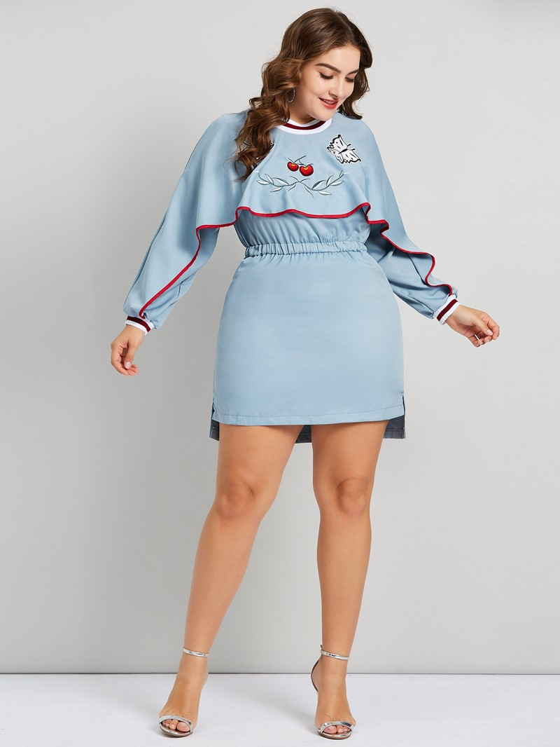 Ericdress Plus Size Above Knee Embroidery Animal Standard-Waist Dress