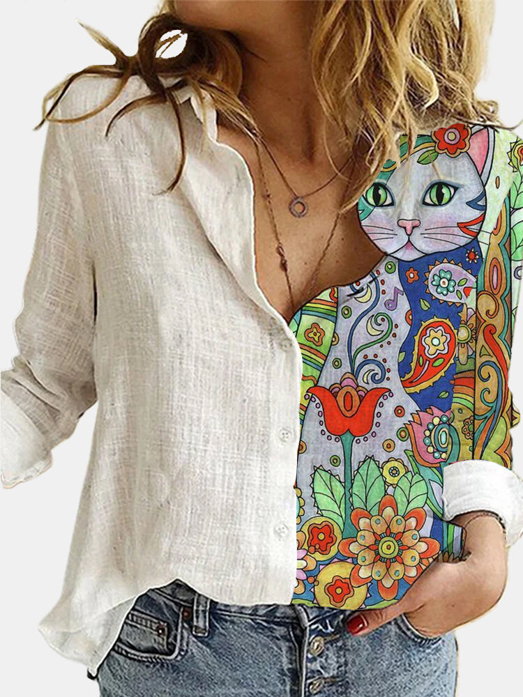 Cartoon Cat Print Patchwork Lapel Collar Button Blouse