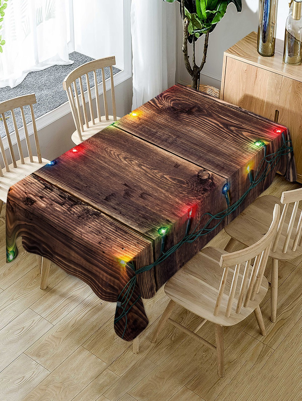 Christmas Light Wooden Print Fabric Waterproof Table Cloth