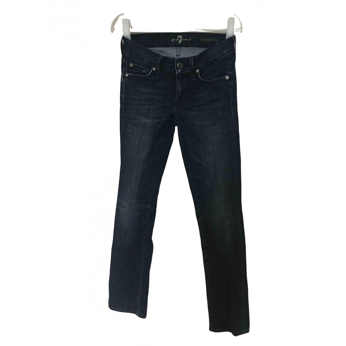 7 For All Mankind - Jean   pour femme en coton - elasthane - bleu