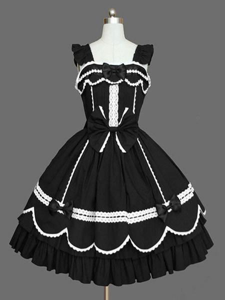 Milanoo Sweet Lolita JSK Dress Black Sleeveless Ruffles Lolita Jumper Skirts