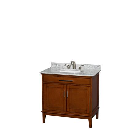 WCV161636SCLCMUNRMXX 36 in. Single Bathroom Vanity in Light Chestnut  White Carrera Marble Countertop  Undermount Oval Sink  and No