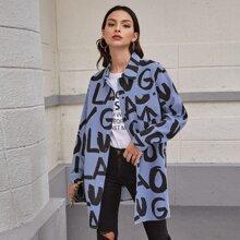 Mantel mit Knopfen vorn, Taschen Flicken und Streifen