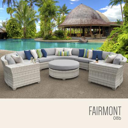 FAIRMONT-08b-GREY Fairmont 8 Piece Outdoor Wicker Patio Furniture Set 08b with 2 Covers: Beige and