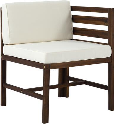 OWSAN3PCDB Modular Outdoor Acacia L and R Chairs + Ottoman in Dark