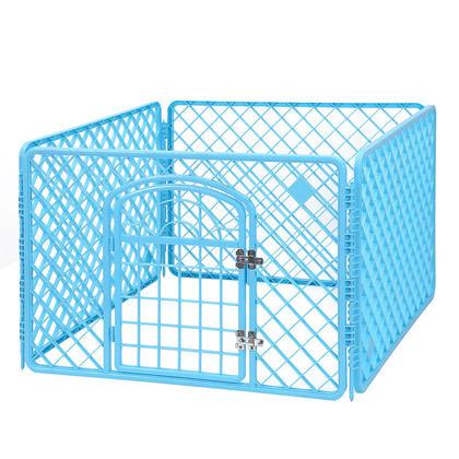 Cage de chenil avec la porte pour le jeu danimal de compagnie et lexercice intérieur / extérieur - bleu