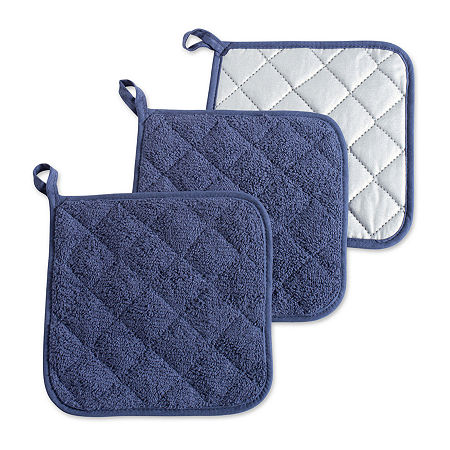 Design Imports Terry Kitchen 3-pc. Pot Holders, One Size , Blue