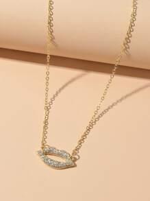 Rhinestone Lip Decor Necklace