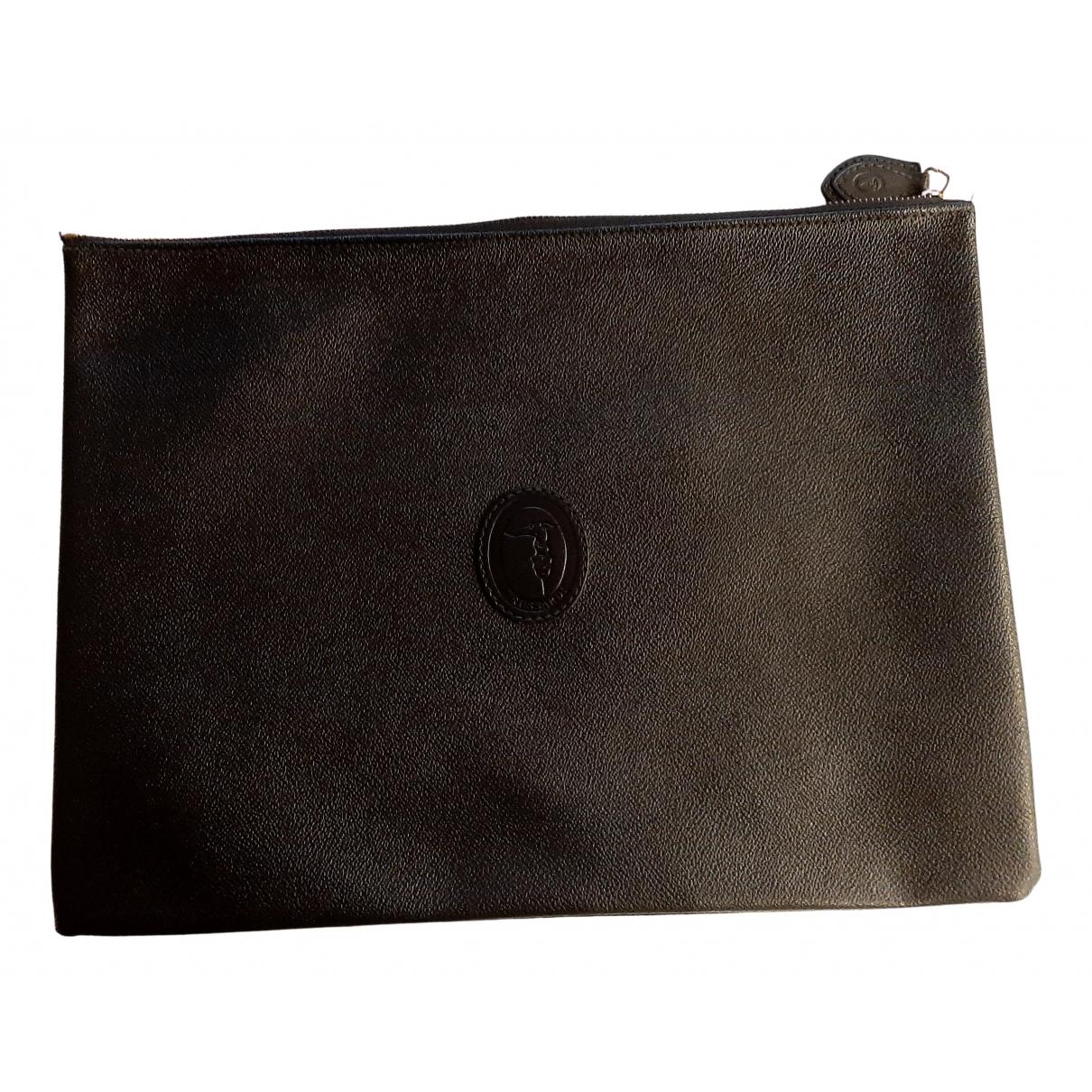 Trussardi - Pochette   pour femme en cuir - noir