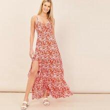 Sleeveless Slit Detail Floral Ruffle Maxi Dress