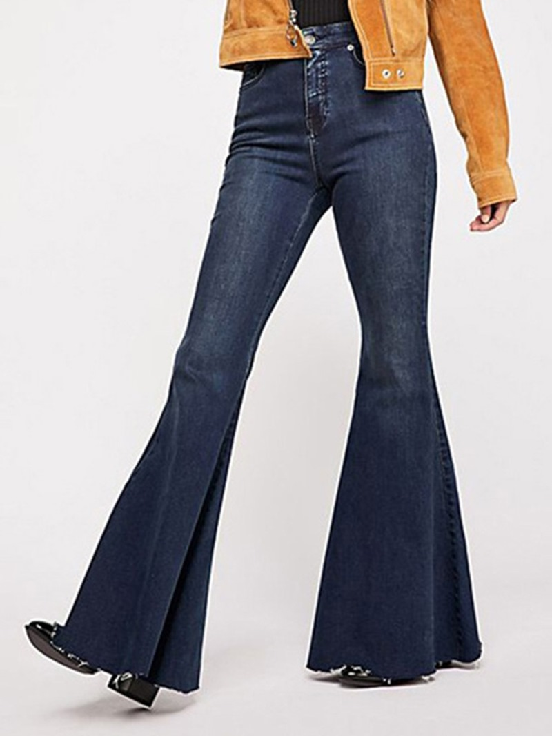 Ericdress Worn Slim Plain Full Length Bellbottoms Casual Pants