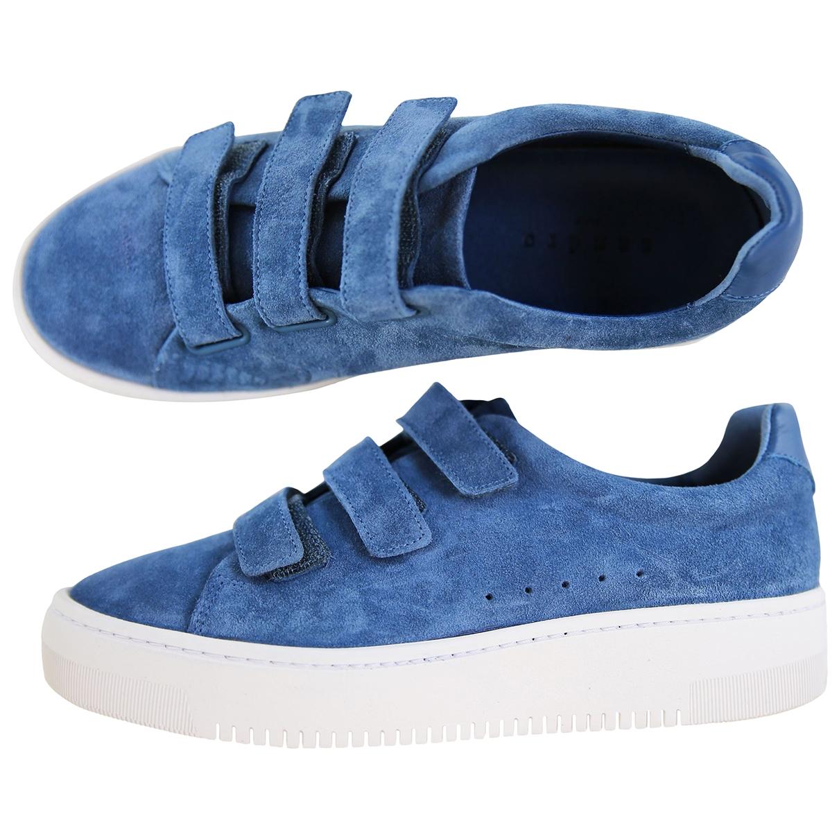 Sandro - Baskets   pour femme en suede - bleu