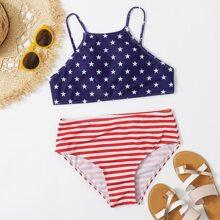 American Flag Print High Waist Bikini Swimsuit
