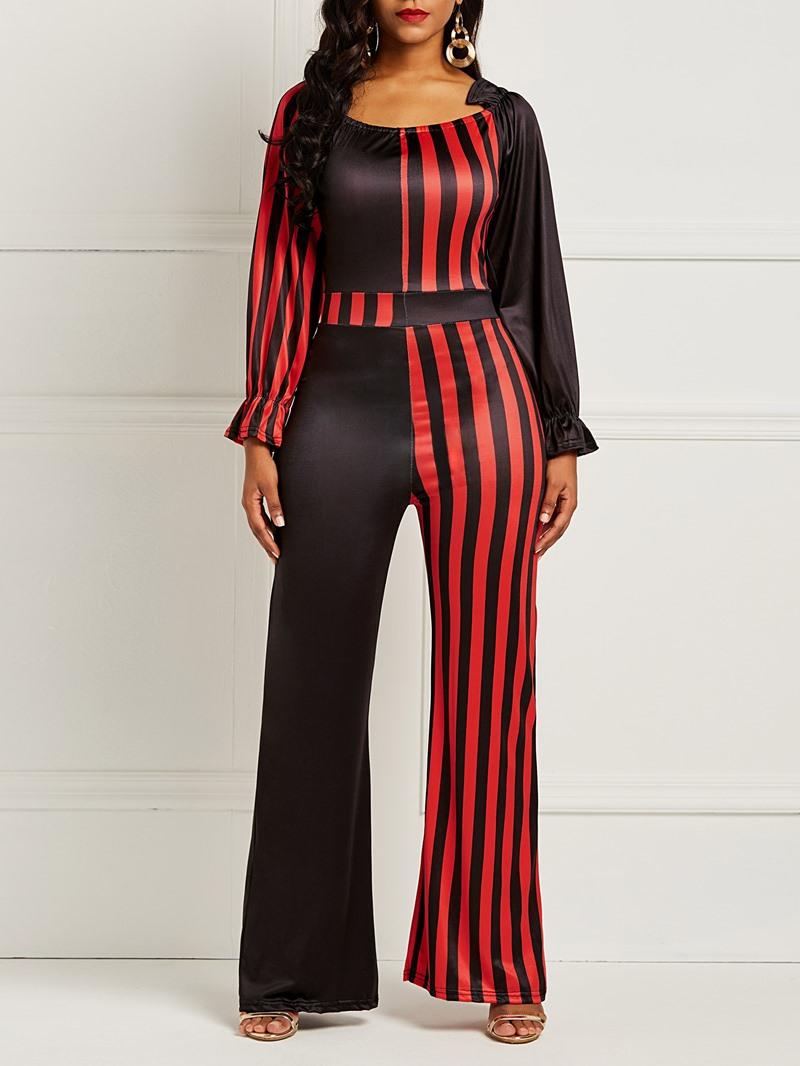 Ericdress Striped Color Block Patchwork Women's Jumpsuit