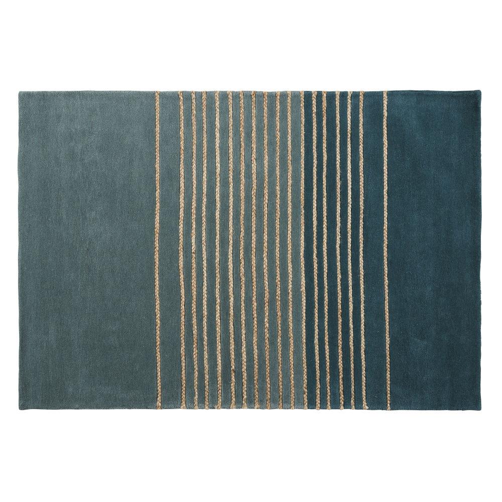 Wollteppich, gruen mit Streifenmustern aus Jute 140x200