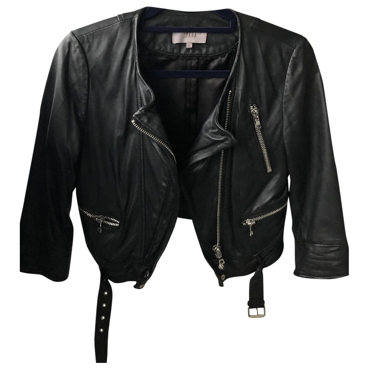 Ibana - Blouson   pour femme en cuir - noir