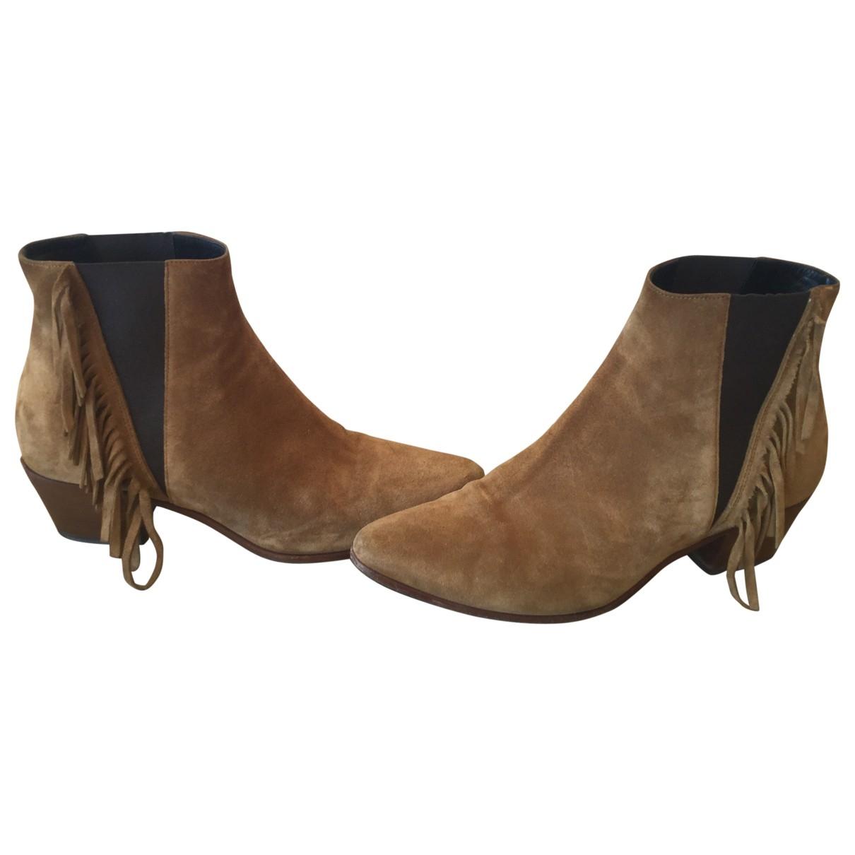 Saint Laurent - Boots Dakota pour femme en suede - camel